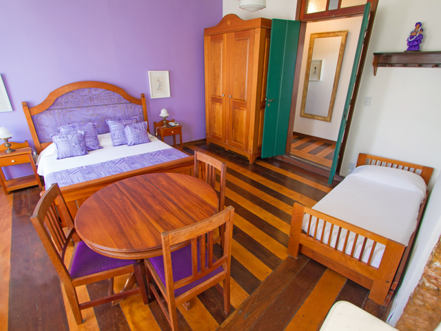 Family room, queen bed, with view over Pelourinho, Salvador