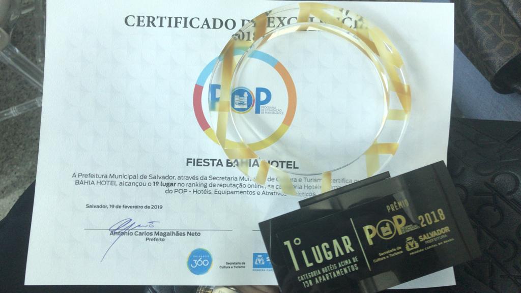 Troféu do Prêmio POP Fiesta Melhor Hotel de Salvador